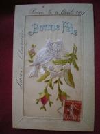CARTE BRODÉE  - Bonne Fête, Couple De Colombes. - Embroidered