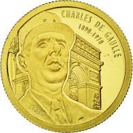 Benin, 1500 Francs CFA, Charles De Gaulle, 2010, FDC, Or - Benin