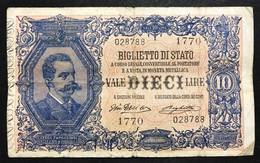 10 LIRE VITTORIO EM. III° Giu Dell'ara Righetti 1914 Rara Lieve Mancanza Al R. LOTTO 568 - [ 1] …-1946 : Regno