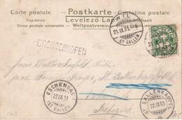 SUISSE 1901 CARTE POSTALE CACHET LIENAIRE BRONSCHHOFEN - 1882-1906 Armarios, Helvetia De Pie & UPU