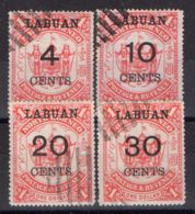 LABUAN ( POSTE ) : Y&T N°  57/60  TIMBRES  BIEN  OBLITERES . - Bornéo Du Nord (...-1963)