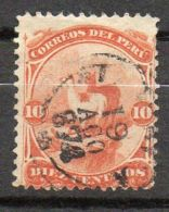 PEROU ( POSTE ) : Y&T N°  10  TIMBRES  TRES  BIEN  OBLITERES . - Perù