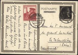 CP ENTIER A Hitler 6 + 19 Michel P112 P278 Casquette Anniversaire Fuhrer + YT 634 CAD Ludenscheid 20 4 39 - Germania