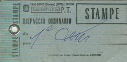 AMMINISTRAZIONE P.T. - MOD.215-0 STAMPE (1977)-DISPACCIO ORDINARIO,1980, - 6. 1946-.. Repubblica