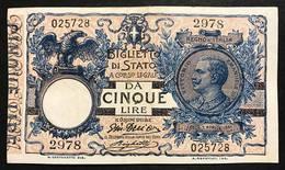 5 LIRE Vittorio Emanuele III° 17 06 1915 Bel Bb+ LOTTO 591 - [ 1] …-1946 : Regno