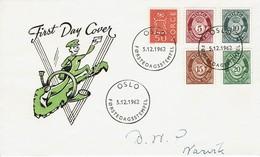 Norwegen Norge 1962 - Freimarken - MiNr 478-481x + 483 - Brieven En Documenten