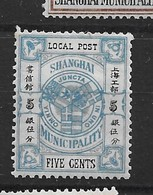 1893 CHINA SHANGHAI COAT OF ARMS BLUE 5 CENTS MINT H CHAN LS153 - Chine