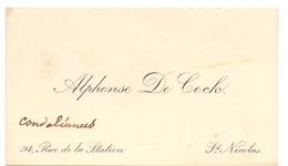 Visitekaartje - Carte Visite - Alphonse De Cock - St Nicolas - St Niklaas - Cartes De Visite