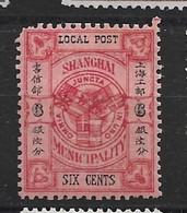 1896 CHINA SHANGHAI COAT OF ARMS 6c Carmine On Rose MINT H CHAN LS163 - Chine