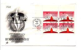 FDC 1973 25 ANS DROITS DE L'HOMME DES NATIONS UNIES - New York -  VN Hauptquartier