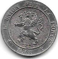 *belguim 5 Centimes 1861 5 Over E  French  Xf+ - 1831-1865: Léopold I.