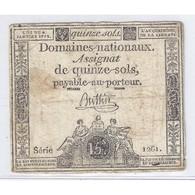 ASSIGNAT DE 15 SOLS - SERIE 1261 - 04/01/1792 - B+ - Assignats