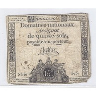 ASSIGNAT DE 15 SOLS - SERIE 573 - 04/01/1792 - B+ - Assignats