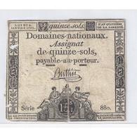 ASSIGNAT DE 15 SOLS - SERIE 880 - 04/01/1792 - B+ - Assignats
