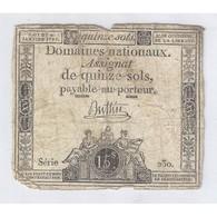 ASSIGNAT DE 15 SOLS - SERIE 230 - 04/01/1792 - B - Assignats & Mandats Territoriaux