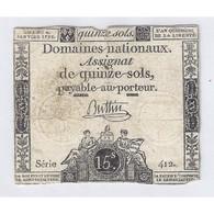 ASSIGNAT DE 15 SOLS - SERIE 412 - 04/01/1792 - B+ - Assignats & Mandats Territoriaux