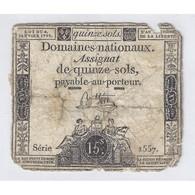 ASSIGNAT DE 15 SOLS - SERIE 1557 - 04/01/1792 - B - Assignats