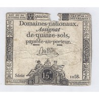 ASSIGNAT DE 15 SOLS - SERIE 1058 - 04/01/1792 - B - Assignats