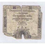 ASSIGNAT DE 15 SOLS - SERIE 1680 - 24/10/1792 - B - Assignats