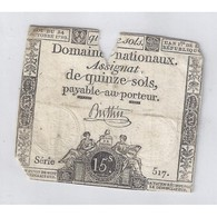 ASSIGNAT DE 15 SOLS - SERIE 517 - 24/10/1792 - B - Assignats & Mandats Territoriaux