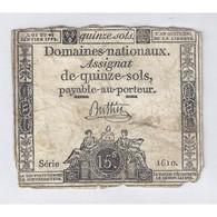 ASSIGNAT DE 15 SOLS - SERIE 1610 - 04/01/1792 - B+ - Assignats & Mandats Territoriaux