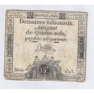 ASSIGNAT DE 15 SOLS - SERIE 1393 - 04/01/1792 - B+ - Assignats