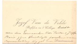 Visitekaartje - Carte Visite - Professor Jozef Van De Velde - Dendermonde - Cartes De Visite