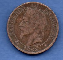 Napoléon III -  5 Centimes 1863 A  -  état  TB+ - France