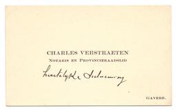 Visitekaartje - Carte Visite - Notaris & Provincieraadslid Charles Verstraeten - Gavere - Cartes De Visite