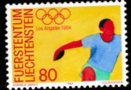 1984 LOS ANGELES OLYMPIC   MNH STAMP  FROM LIECHTENSTEIN /SPORTS /DISCUSS - Summer 1984: Los Angeles