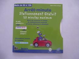 DISQUE De STATIONNEMENT NICE En Service Durant La Construction Du TRAMWAY Ligne 1 (2003 - 2007) Scans Recto-verso. - Voitures