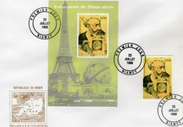 Niger 1998, 20th Century, Jules Verne, 1val +BF In FDC - Writers