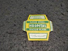 ANTIQUE RAZOR BLADE WRAPPER HOSPITAL BRAND GOLD STEEL MADE IN USA - Razor Blades