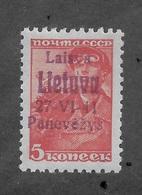 Lithuania 1941 Panevėžys Occupation 5 Kop ,Mi 4c,Sol 4,VF Mint Very Lightly Hinged*OG Signed ! (RN4) - Lithuania