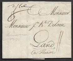 1781 LAC - LIVORNO A GAND, BELGIQUE - 1. ...-1850 Prephilately