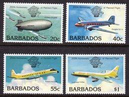 BARBADOS - 1983 MANNED FLIGHT SET (4V) FINE MNH ** SG 726-729 - Barbades (1966-...)