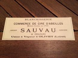 ANNEE 1880 Blanchisserie à Jette Saint Pierre DE PRINS à Bruxelles Commerce De Cire D'abeilles SAUVAU à ORLEANS OLIVET - Publicités