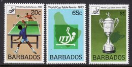 BARBADOS - 1983 TABLE TENNIS SET (3V) FINE MNH ** SG 734-736 - Barbados (1966-...)