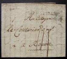 Marseille 15 Ventôse L'an 2, Lettre Pour Rouen, Avec Marque MARSEILLE - 1701-1800: Precursores XVIII