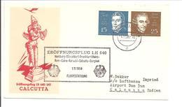 Eröffnungsflug LH640 Calcutta. Louis Spohr 15Pf & Joseph Haydn 25Pf - BRD