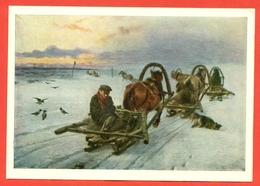 """USSR 1969.Painting -"""" Empty Wagons"""".  Artist Pryanishnikov. - Horses"""