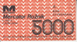 3359  BON  MERCATOR  5000  DINARA - Slovénie