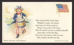Patriotic USA Flag Uncle Sam Boy Drum Swift's Premium Ad Oleomargarine - Patriotiques