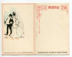 ILLUSTRATEUR Jacques WELY Couple Mariés Noirs  CARTE DOUBLE Chocolat GUERIN BOUTRON Art Noouveau   /D25-2018 - Autres Illustrateurs