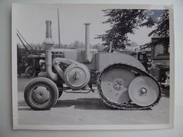 2 Photos Publicité Ets GIBOUIN TRACTEUR AGRICOLE à CHENILLE LANZ 1928/29 Région De NANGIS Agriculture Céréalier - Métiers