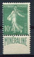 RC 10619 FRANCE N° 188A MINERALINE 5c SEMEUSE COTE 500€ NEUF * B/ TB - France