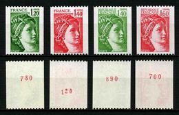 FRANCE - SABINE - YT 2103a, 2104a, 2157a, 2158a ** - 4 TIMBRES DE ROULETTE AVEC NUMEROS ROUGES NEUFS ** - 1977-81 Sabina Di Gandon