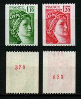 FRANCE - SABINE - YT 2062a Et 2063a ** - 2 TIMBRES DE ROULETTE AVEC NUMEROS ROUGES NEUFS ** - 1977-81 Sabine (Gandon)