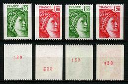 FRANCE - SABINE - YT 1980a, 1981a, 1981Aa, 1981Ba ** - 4 TIMBRES DE ROULETTE AVEC NUMEROS ROUGES NEUFS ** - 1977-81 Sabine (Gandon)
