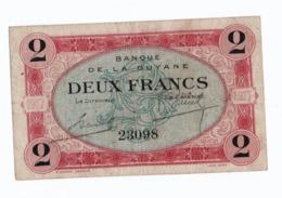S36 Billet De Nécessité Banque De Guyane Française N°K232  2 Francs 1917 FRENCH GUIANA - Guyane Française